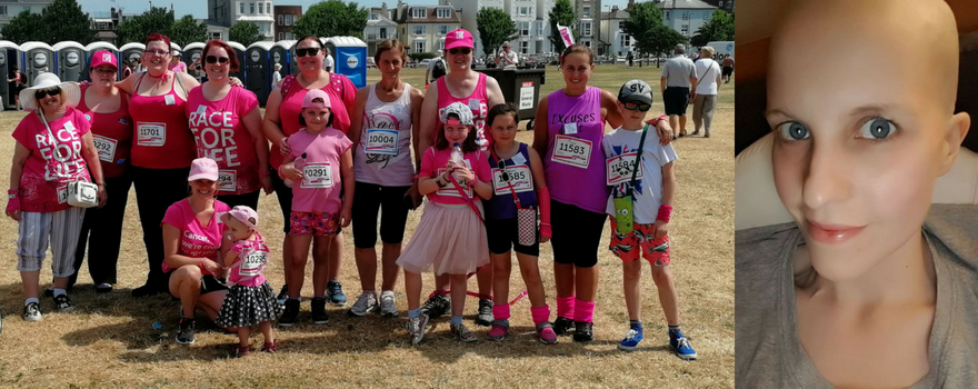 Izzy with her friends and family at the Race for Life