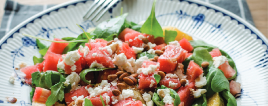 Watermelon, Orange and feta Salad