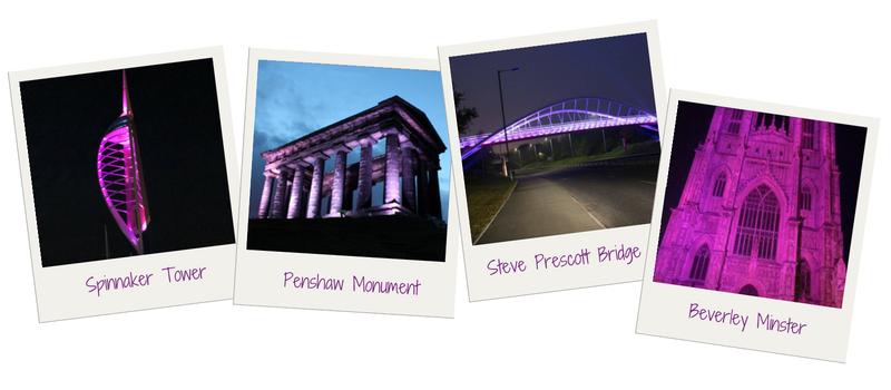 Purple Lights for pancreatic cancer, Landmarks light up purple. Pancreatic Cancer Action