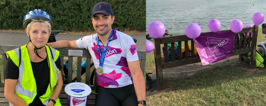 Tom sits on his grandma's memorial bench with Di, the wife of Gordon who Tom rode the challenge for. Together they finished the miles that couldn't be completed on the day.