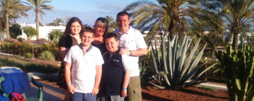 Barry on holiday with his family who have been supporting him all the way