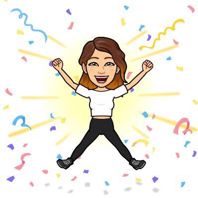An emoji of Lauren celebrating her success