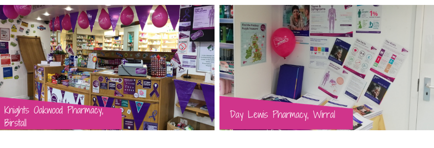 Image of two pharmacies in purple for Turn it Purple