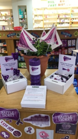 urple Pancreatic Cancer Action balloons and decorations and badges in Knights Oakwood Pharmacy for Pancreatic Cancer Action's Turn it Purple campaign