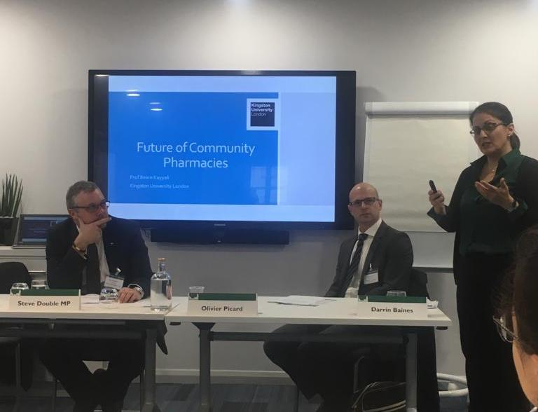 Professor Reem Kayyali, Pharmacist and Head of the Department of Pharmacy at Kingston University London talking about the future of community pharmacy