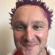 Me (Murray) with purple hair for Pancreatic Cancer Awareness month/Turn it Purple