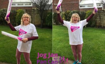 Denise finishing JogJan for PanCan